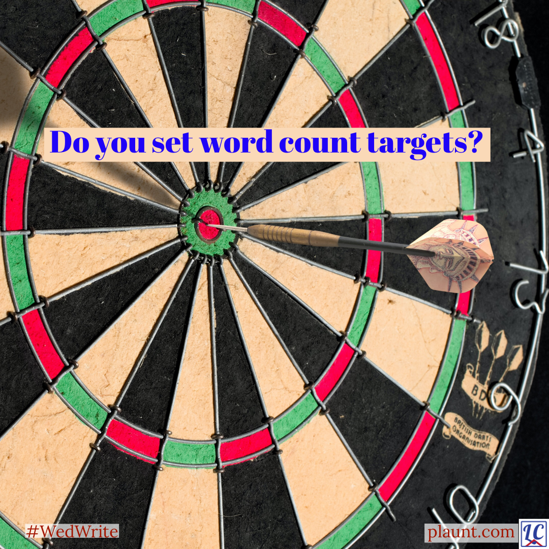 A close-up of a dart board with a dart in the centre. Caption: Do you set word count targets?