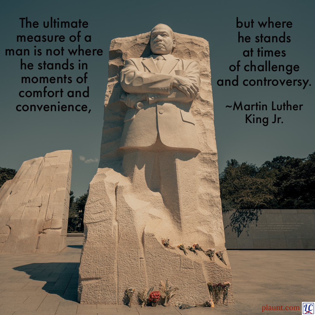 The memorial statue of Martin Luther King Jr. in Washington DC. Caption: The ultimate measure of a man is not where he stands in moments of comfort and convenience, but where he stands at times of challenge and controversy. ~Martin Luther King Jr.