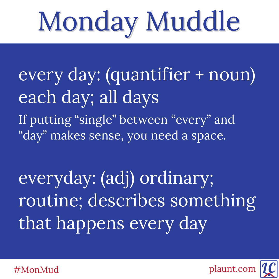 "Monday Muddle: every day: (quantifier + noun) each day; all days If putting ""single"" between ""every"" and ""day"" makes sense, you need a space. everyday: (adj) ordinary; routine; describes something that happens every day"
