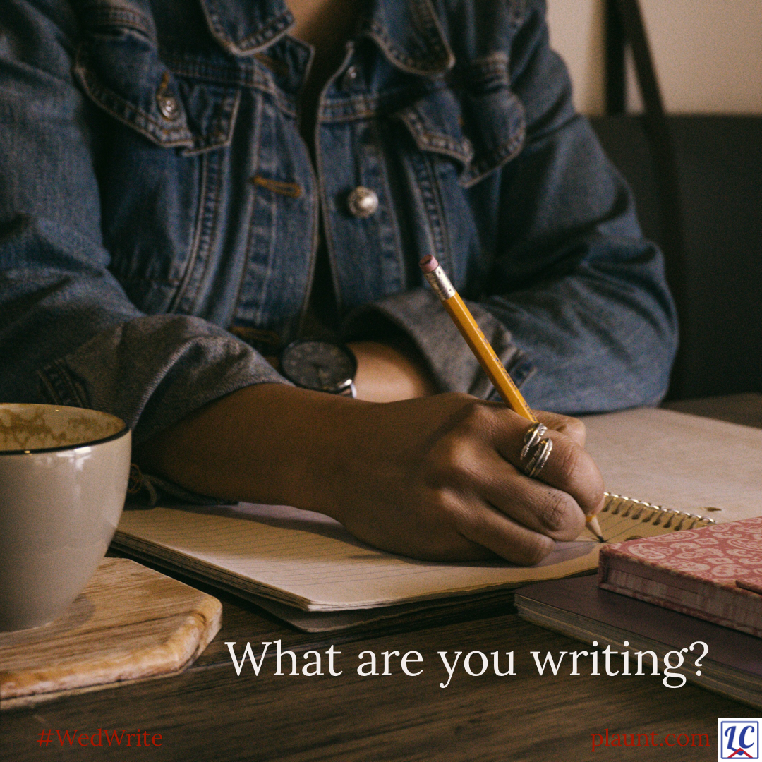 A woman's arm writing in a notebook. Caption: What are you writing?