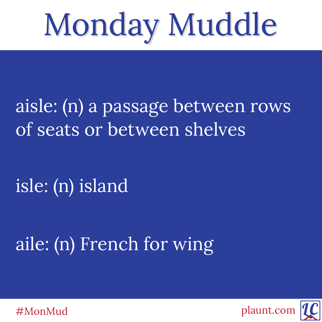 Monday Muddle: aisle: (n) a passage between rows of seats or between shelves. isle: (n) island. aile: (n) French for wing.