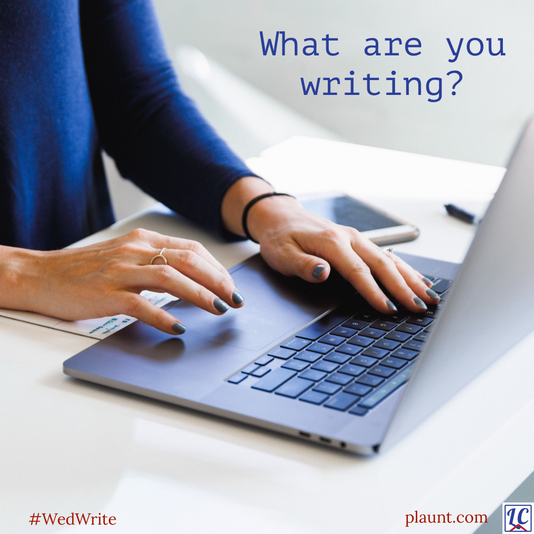 A woman's hands extended over the keyboard of a laptop. Caption: What are you writing?