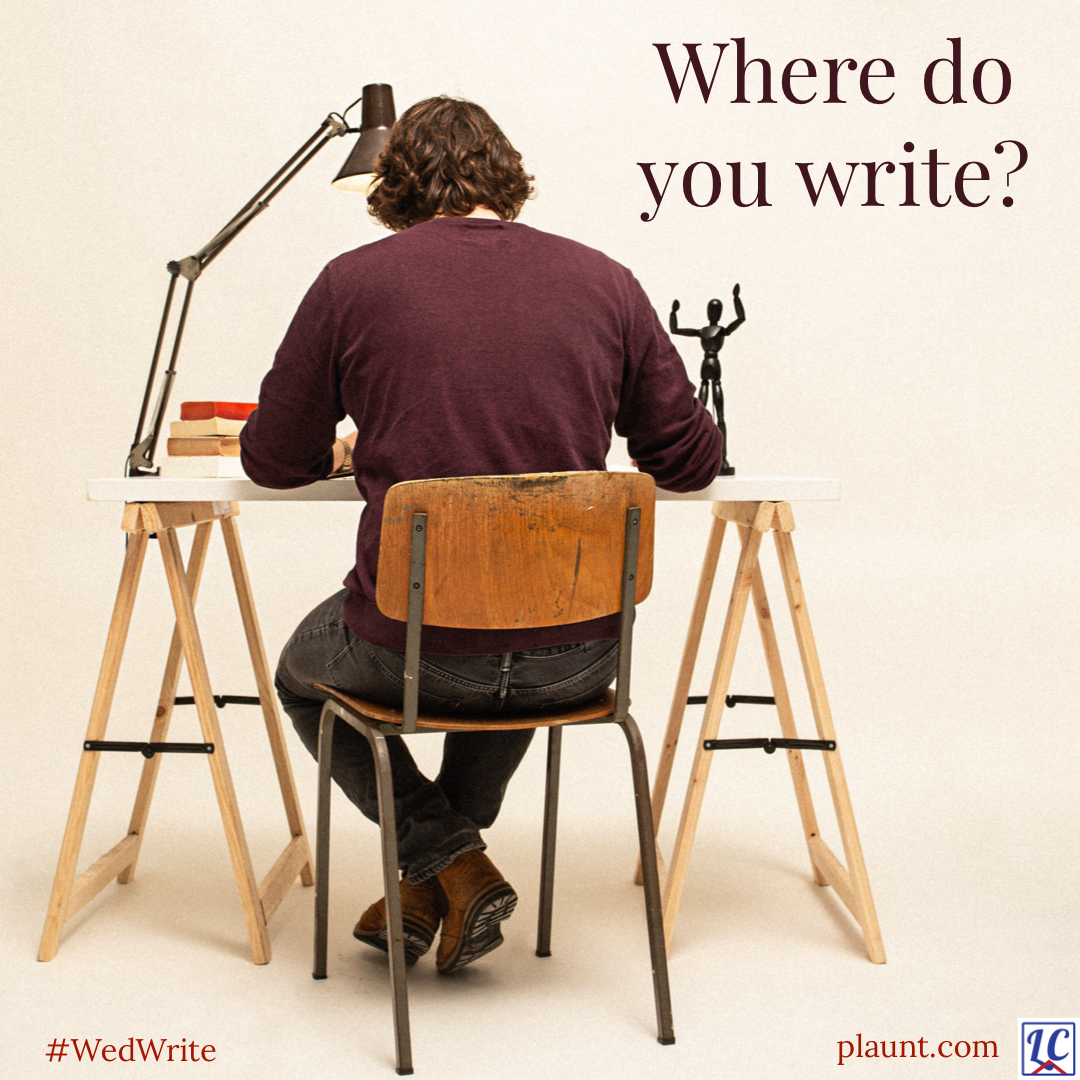 A man sitting in a hard chair at a small desk with his back turned to us. Caption: Where do you write?