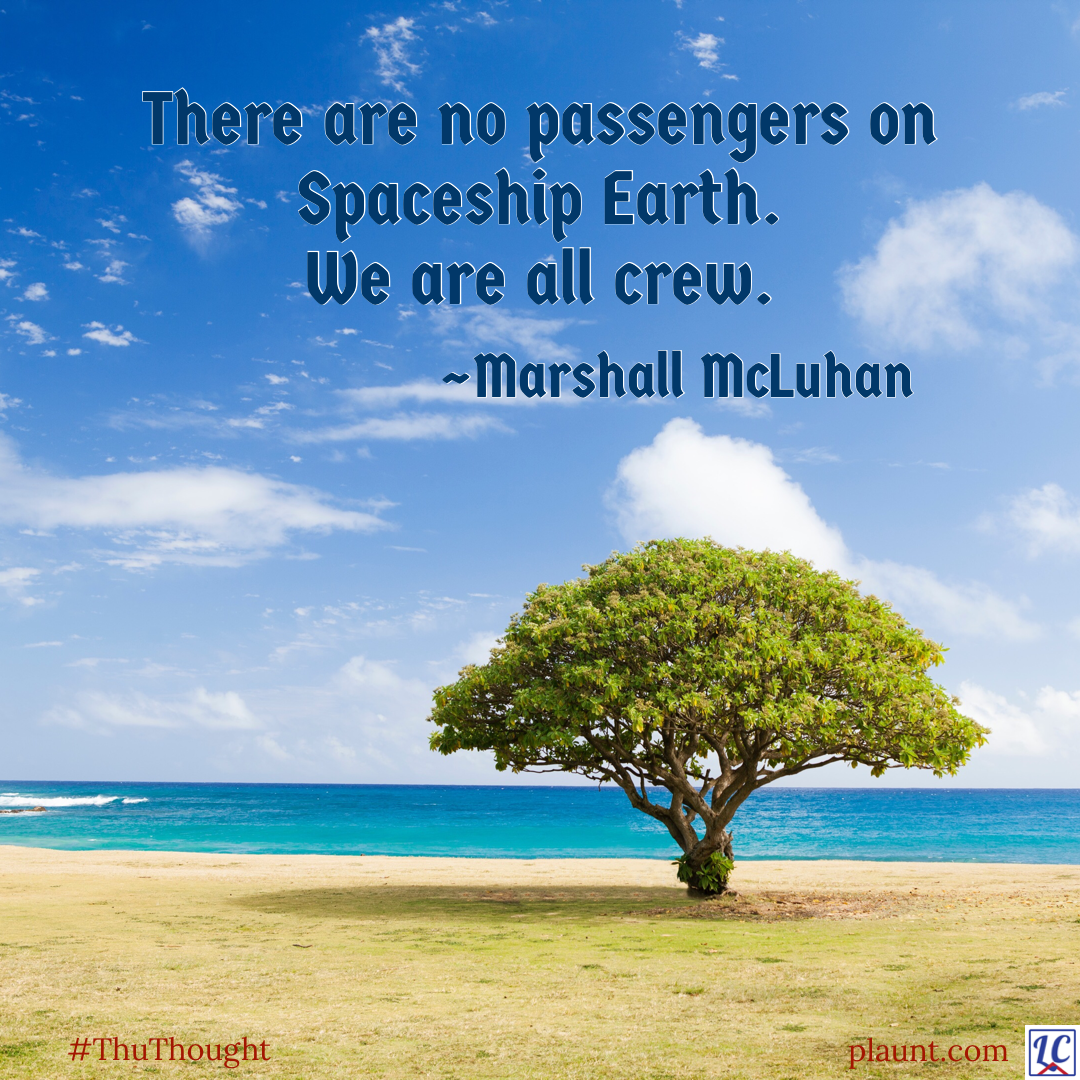 A bushy evergreen tree planted in dry, sandy soil in front of turquoise water. Caption: There are no passengers on Spaceship Earth. We are all crew. ~Marshall McLuhan