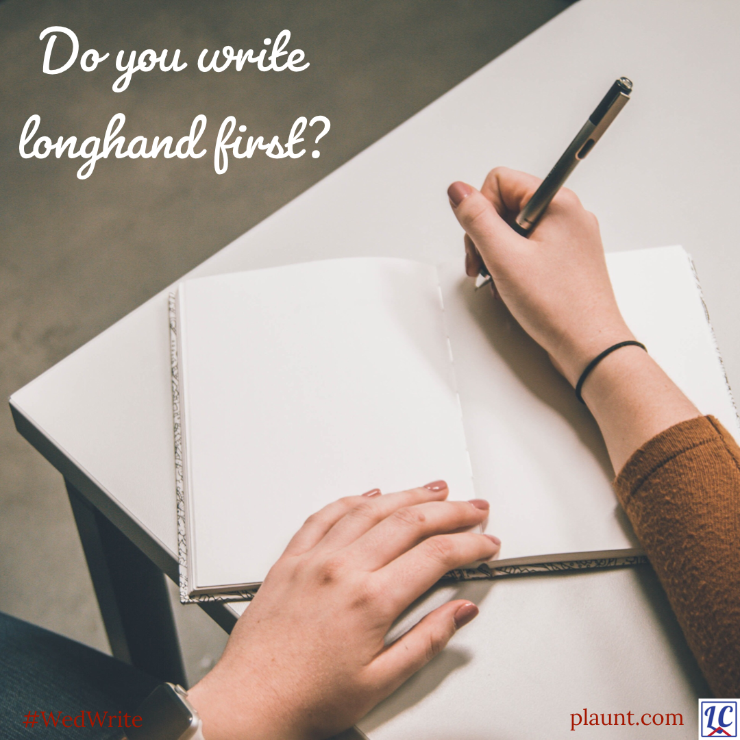 A woman about to write in a blank journal. Caption: Do you write longhand first?
