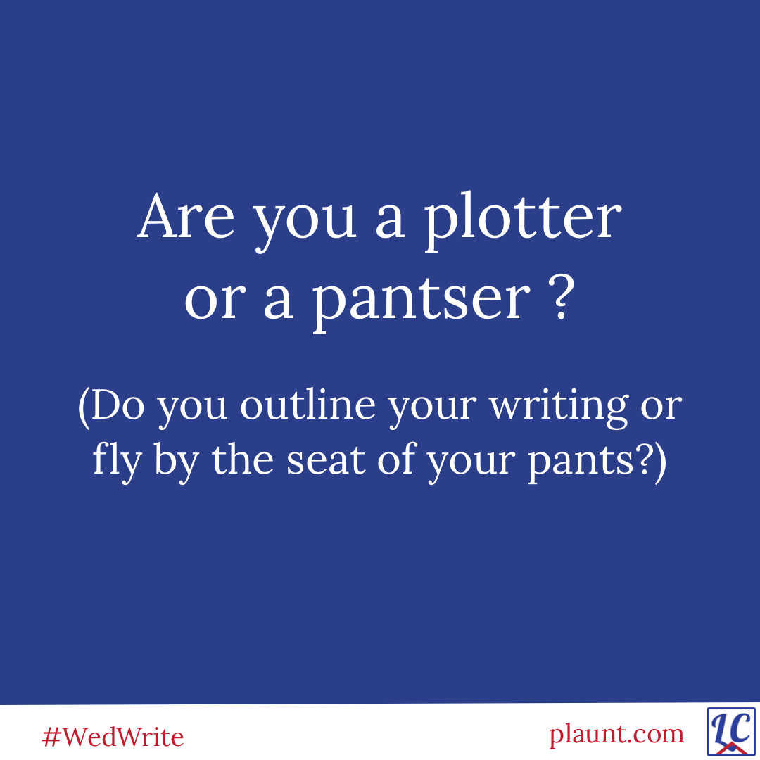 Are you a plotter or a pantser? (Do you outline your writing or fly by the seat of your pants?)
