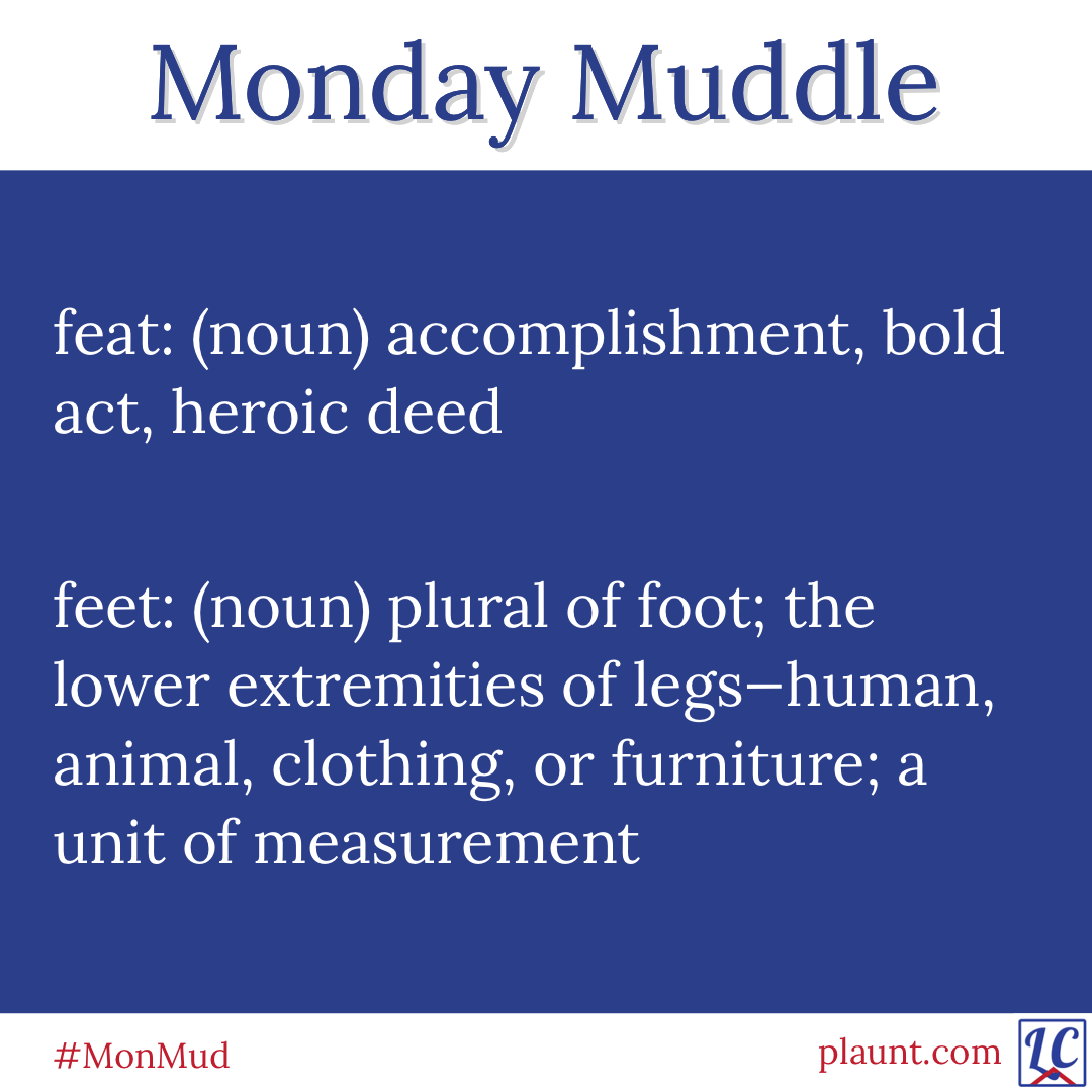 Monday Muddle: feat: (noun) accomplishment, bold act, heroic deed feet: (noun) plural of foot; the lower extremities of legs—human, animal, clothing, or furniture; a unit of measurement