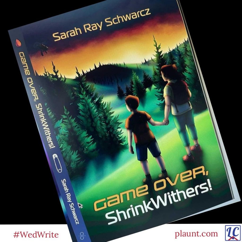 """The cover of a middle grade novel, """"Game Over, ShrinkWithers"""", by Sarah Ray Schwarcz. The cover shows two children standing hand in hand on a grassy hillside overlooking hills and valleys filled with evergreen trees."""