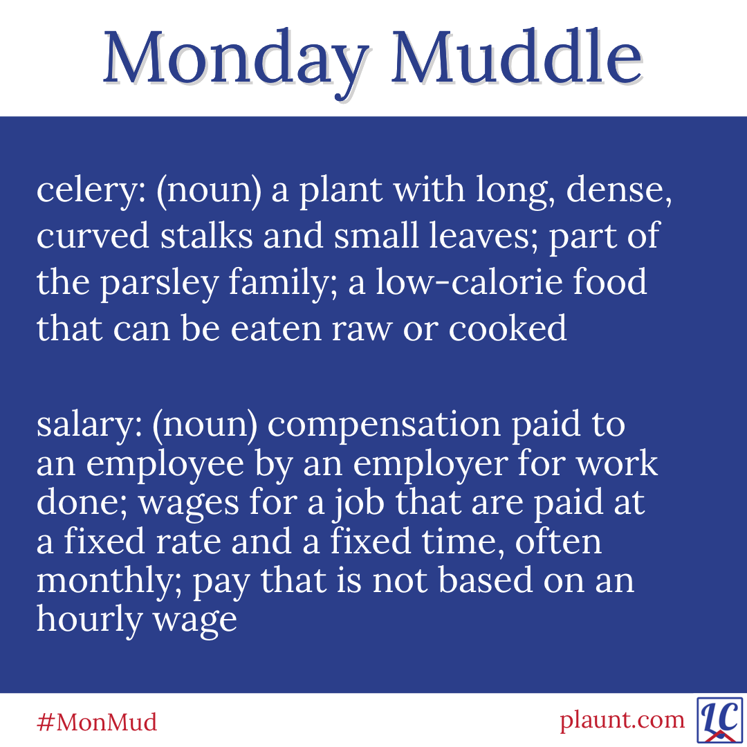 Monday Muddle: celery: (noun) a plant with long, dense, curved stalks and small leaves; part of the parsley family; a low-calorie food that can be eaten raw or cooked salary: (noun) compensation paid to an employee by an employer for work done; wages for a job that are paid at a fixed rate and a fixed time, often monthly; pay that is not based on an hourly wage